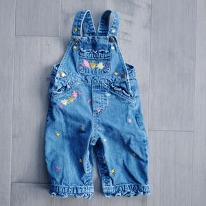 Girl's Blue Denim Overalls with Embroidered Leaves